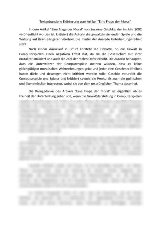 Textgebundene Erorterung Zum Artikel Eine Frage Der Moral Von Susanne Gaschke Discussion Argumentative Essay Erorterung
